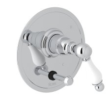 Polished Chrome Arcana Pressure Balance Trim With Diverter with Arcana Series Only Ornate White Porcelain Lever