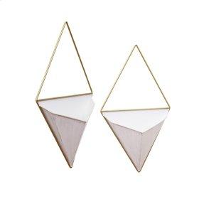 S/2 Metal Diamond Wall Planters, White