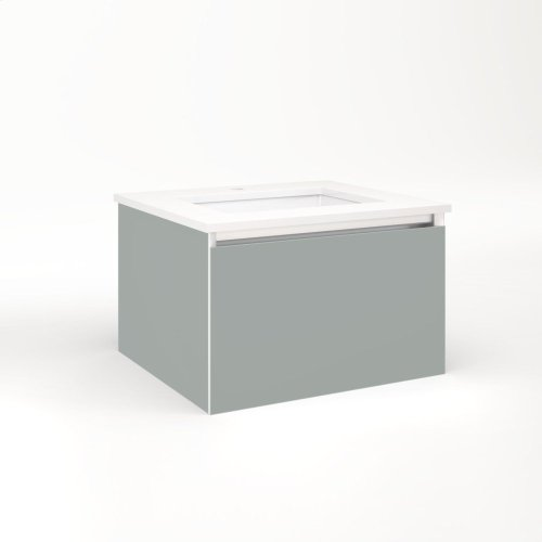 """Cartesian 24-1/8"""" X 15"""" X 21-3/4"""" Single Drawer Vanity In Matte Gray With Slow-close Plumbing Drawer and No Night Light"""