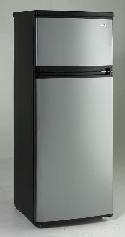 Hidden · Additional 7.4 CF Two Door Apartment Size Refrigerator   Black  W/Platinum Finish