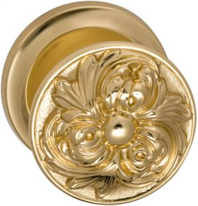Interior Ornate Knob Latchset in (US3 Polished Brass, Lacquered)