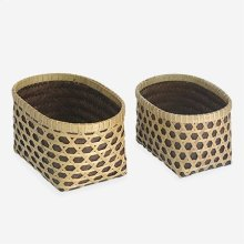 Patterned Woven Containers - Set of 2 - Natural/Brown