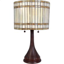 Table Lamp, Antique Bronze/tiffany Shade, E27 Type A 60wx2