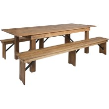 8' x 40'' Antique Rustic Folding Farm Table and Two Bench Set
