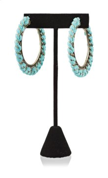 BTQ Teal and Gold Woven Earrings