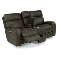 Tomkins Fabric Power Gliding Reclining Loveseat with Console and Power Headrests Product Image