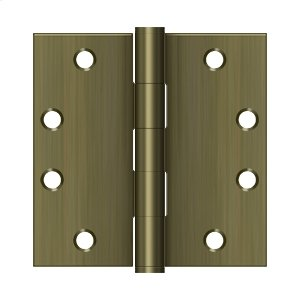 """4 1/2"""" x 4 1/2"""" Square Hinges, HD - Antique Brass"""