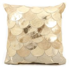 "Natural Leather Hide S1203 Beige Gold 20"" X 20"" Throw Pillow"