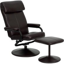 Contemporary Multi-Position Headrest Recliner and Ottoman with Wrapped Base in Brown Leather