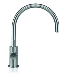 Singlle hole faucet with rotating spout, available in matte or polished stainless steel.