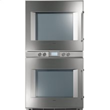 """200 series double oven BX 281 611 Stainless steel-backed full glass door Width 30"""" (76 cm) Left-hinged"""