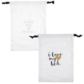 """I Love My Bed"" & ""Wake Me at Noon"" Drawstring Lingerie Bags (2 asstd)."
