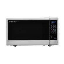 1.8 cu. ft. 1100W Sharp Stainless Steel Countertop Microwave with Black Mirror Door