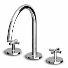 3 hole basin mixer, swivel spout with aerator, flexible tails.