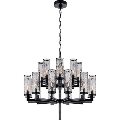 Visual Comfort KW5201BZ-CRG Kelly Wearstler Liaison 20 Light 34 inch Bronze Chandelier Ceiling Light, Kelly Wearstler, Double-Tier, Crackle Glass