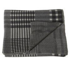 Grey Plaid Knit Throw