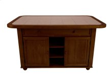CY-KITT02-B24-NUT3PC  3 Piece Nutmeg Kitchen Island Set with Light Oak Trim and Terracotta Rose Tile Top
