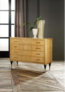 Mid Century Commode, Sycamore Veneer. Solid Brass Details & Hardware.