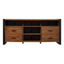 Contemporary meets industrial in this attractive TV stand. The plank top an...