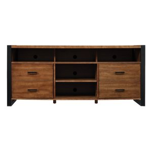 Bell'oContemporary meets industrial in this attractive TV stand. The plank top an...