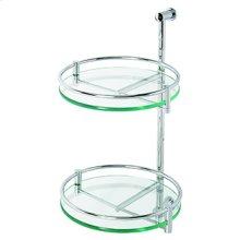 Essentials Two Tier Wall Mounted Glass Swivel Shelf Unit