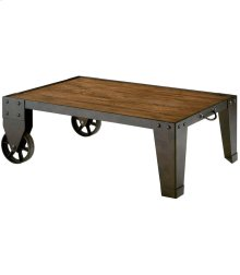 Industrial Cart Cocktail Table -KD-Rustic Dark Oak