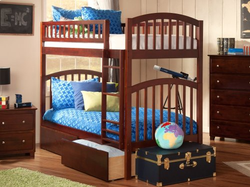 Richland Bunk Bed Twin over Twin with Urban Bed Drawers in Walnut