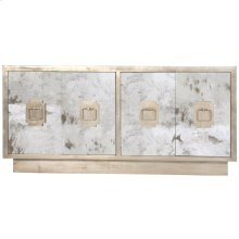Antique Mirror 4-door Entertainment Console With Champagne Silver Leaf Detailing, Silver Leaf Iron Handles and Fixed Interior Shelf