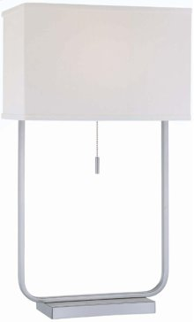 Table Lamp, Ps/white Fabric Shade, E27 Cfl 32w