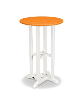"White & Tangerine 24"" Round Counter Table"
