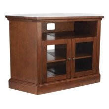 """Audio Video Stand Corner unit - fits AV components and TVs up to 52"""" - Chestnut"""