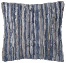 Blue & Beige Leather Chindi Pillow (Each One Will Vary). Product Image