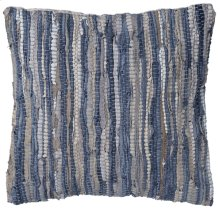Blue & Beige Leather Chindi Pillow (Each One Will Vary).