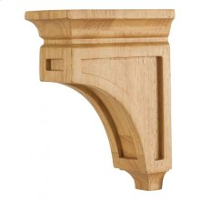 "3"" x 6"" x 8"" Mission Style Wood Bar Bracket Corbel, Species: Rubberwood"