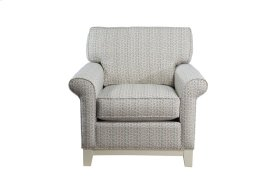Upholstered Chair, Non Skirted. 5'' Plinth Base Available in Grey Wash, Cottage White, Royal oak, Black Teak, White Teak or Vintage Smoke finish.