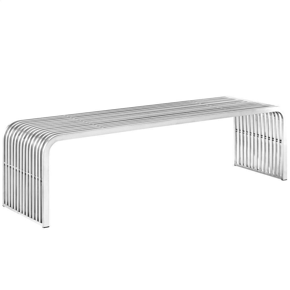 "Pipe 60"" Stainless Steel Bench in Silver"