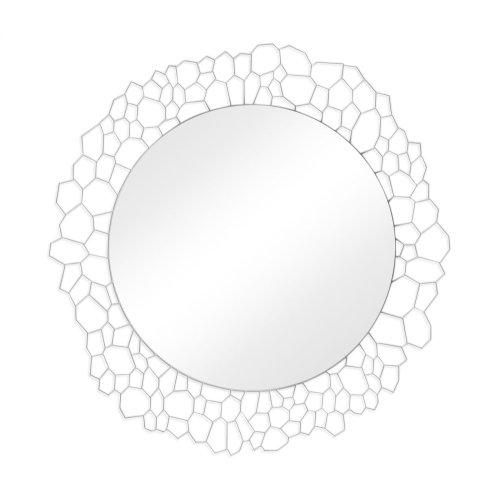"45"" Circular White Brass Woven Net Mirror"