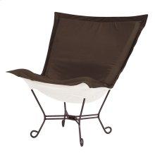 Scroll Puff Chair Seascape Chocolate Mahogany Frame