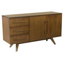 57 Inch 2 Door/3 Drawer Buffet, Solid Maple Top, Long Wood Handles, Splayed Foot 1 Adjustable Shelf Behind Each Door