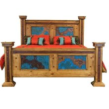 Queen Bed with Turquoise Copper Panels