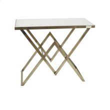 Gold Console Table, White Marble Top, Kd