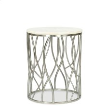 Round Side Table - Polished Steel Finish