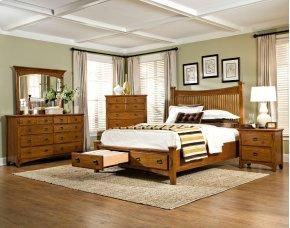 Slat King Bed, Storage Footboard