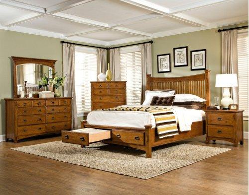 Slat Queen Bed, Headboard