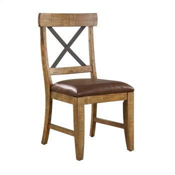 Side Chair W/metal Cross Back-dk Brown Pu Upholstered Seat Product Image