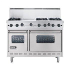 "Metallic Silver 48"" Open Burner Commercial Depth Range - VGRC (48"" wide, six burners 12"" wide griddle/simmer plate)"