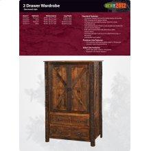 Barnwood 2 Drawer Wardrobe