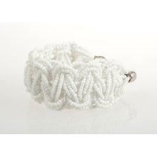 BTQ White Woven Bead Bracelet