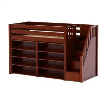 Mid Loft w/ Staircase, 8 Shelf Bookcase & 4-1/2 Drawer Dresser : Twin : Chestnut : Panel