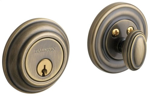 Satin Brass and Black Traditional Deadbolt